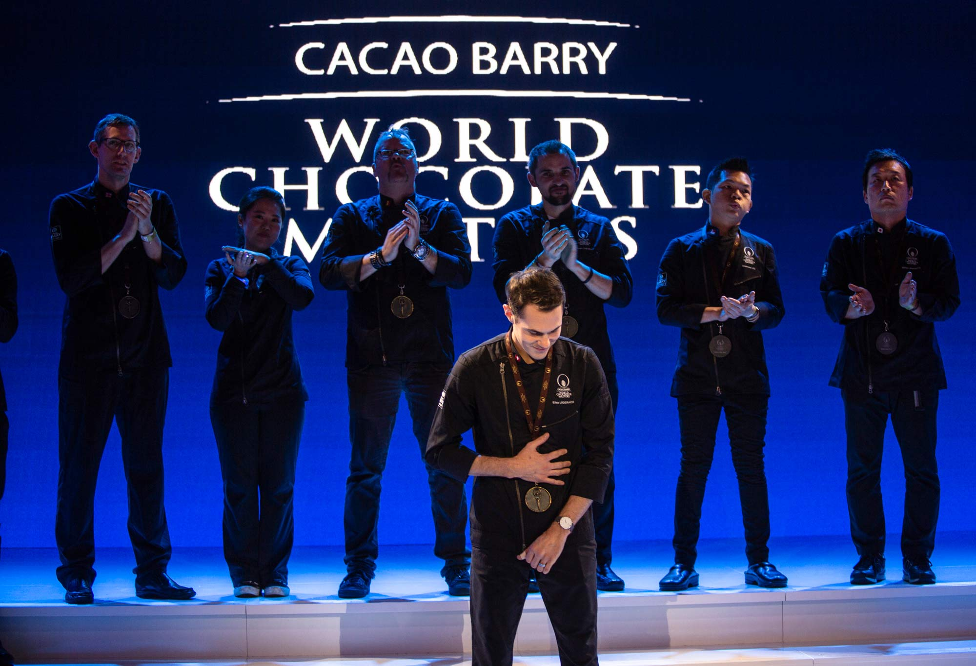 Elias Läderach from Switzerland, during the World Chocolate Masters 2018 prize giving a few minutes before knowing that he was going to be the new winner of the world final.